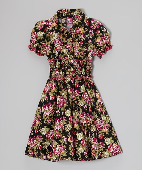 Hot Pink Floral Puff-Sleeve Dress - Toddler & Girls