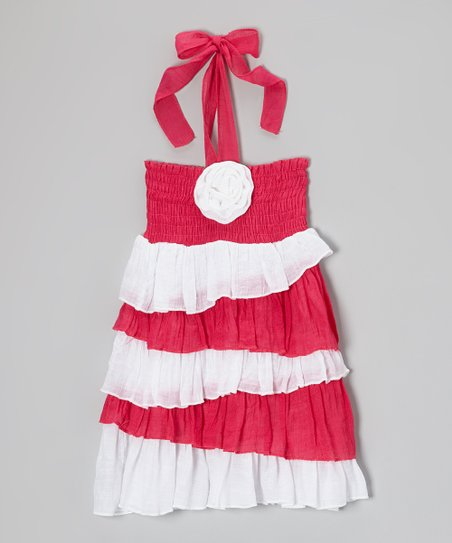 Fuchsia & White Ruffle Halter Dress - Toddler & Girls