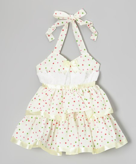 Yellow Polka Dot Halter Dress - Toddler & Girls