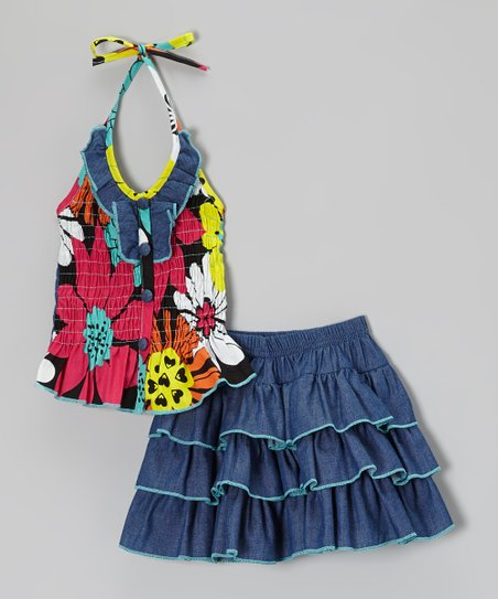 Denim & Blue Floral Halter Top & Ruffle Skirt - Toddler & Girls
