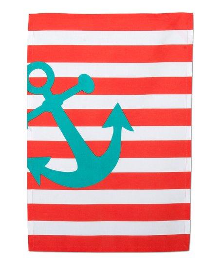 Orange Anchors Away Dish Towel