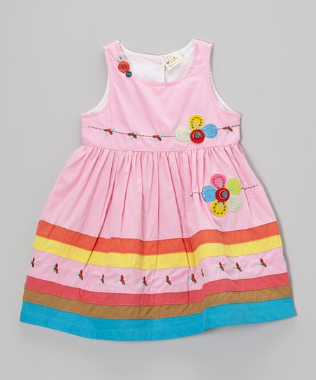 Pink Floral Stripe Dress - Infant, Toddler & Girls
