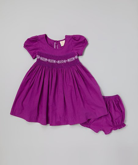 Purple Smocked Dress & Bloomers - Infant & Toddler