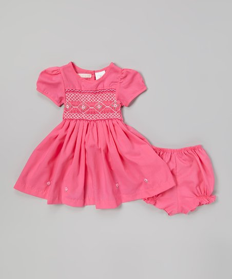 Pink Floral Smocked Dress & Bloomers - Infant & Toddler