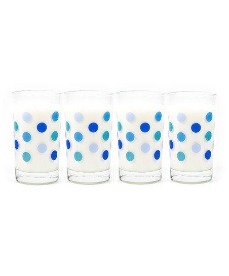 Blue Polka Dot Lexington Beverage Glass - Set of Four