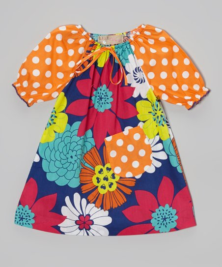 Blue & Orange Big Bloom Peasant Dress - Toddler & Girls