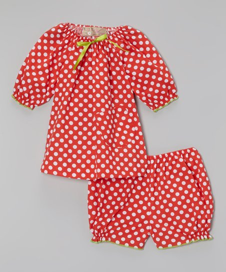 Red Polka Dot Peasant Top & Bloomers - Infant