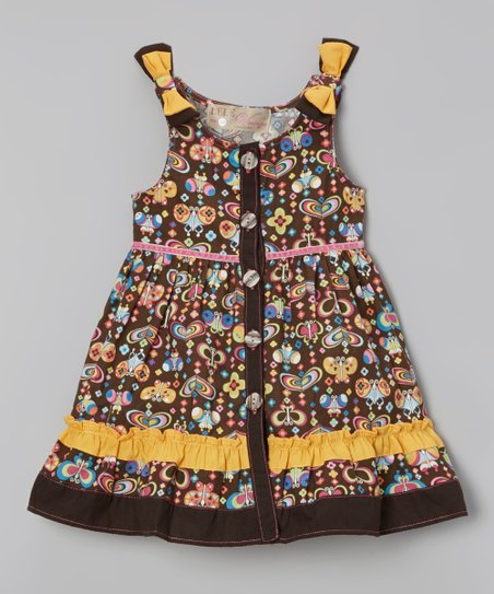 Brown & Yellow Flower Ruffle Dress - Infant, Toddler & Girls