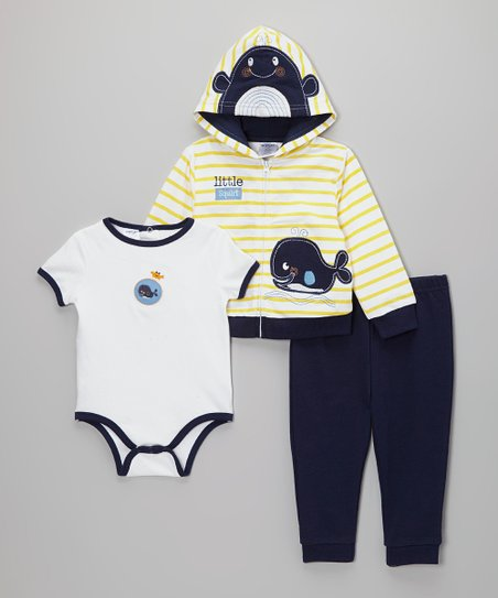 Yellow Stripe Whale Zip-Up Hoodie Set - Infant