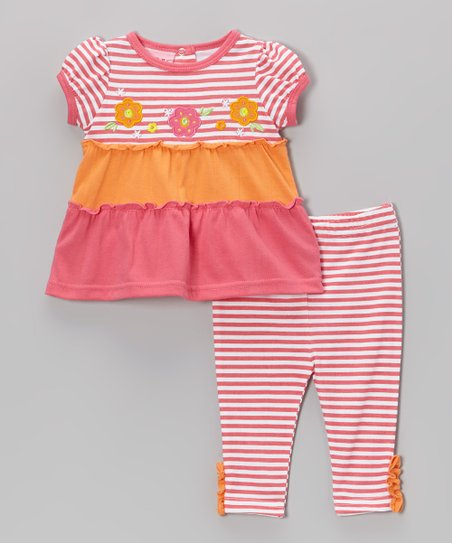 Pink Stripe Ruffle Tunic & Pants - Infant