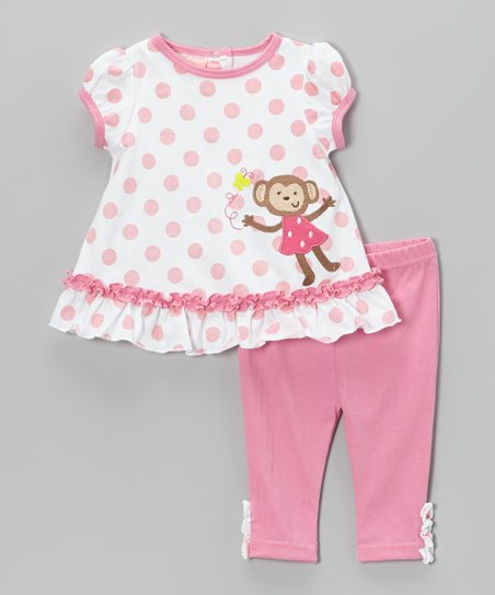 Pink Polka Dot Monkey Tunic & Pants - Infant
