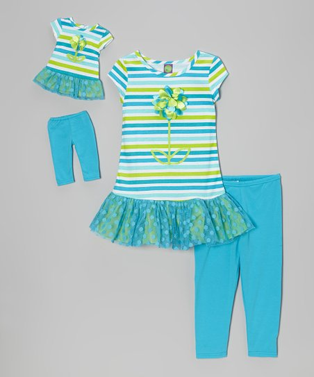 Blue Stripe Skirted Tunic Set & Doll Outfit - Toddler & Girls
