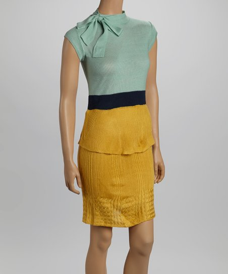 Mustard & Mint Color Block Cap-Sleeve Dress