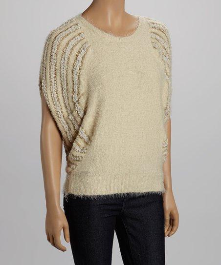 White & Cream Stripe Sweater