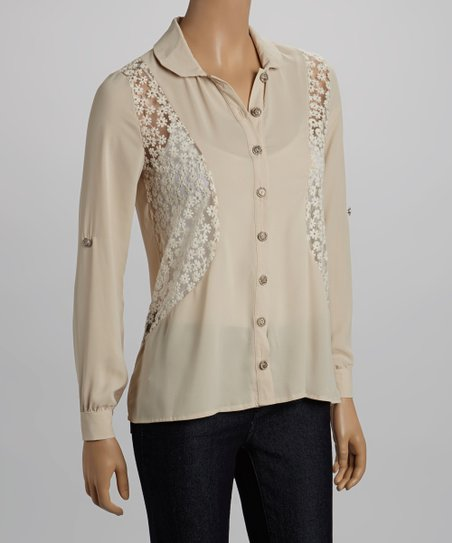 Tan Lace Hi-Low Button-Up