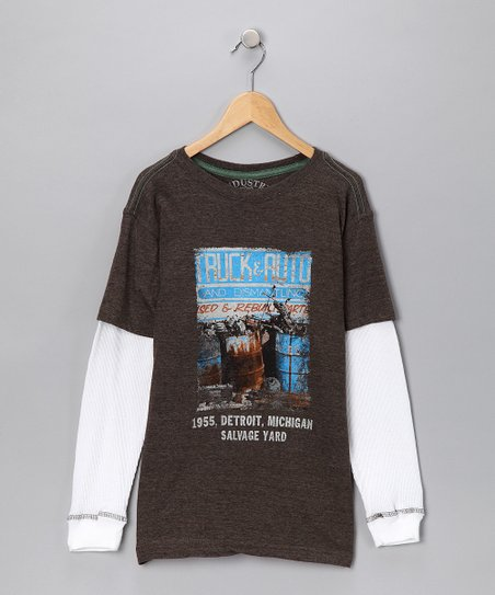 Industry 9 Brown & White Auto Layered Tee - Boys