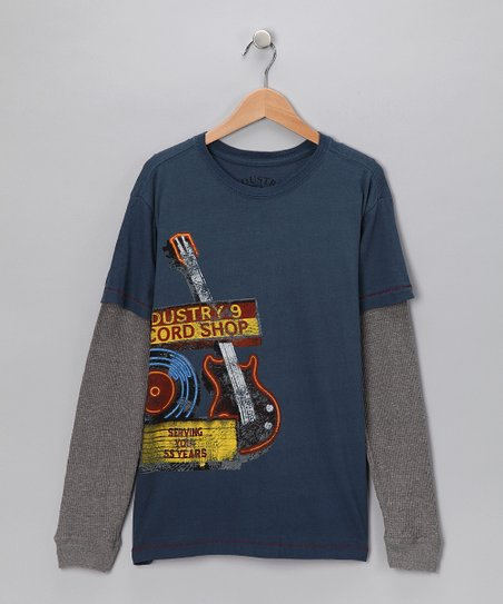 Blue 'Industry 9 Record Shop' Layered Tee - Boys