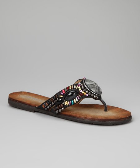 Black Bead Chloe Sandal