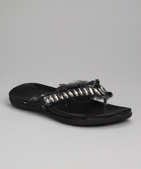 Black Denim Fringe Nadine Sandal