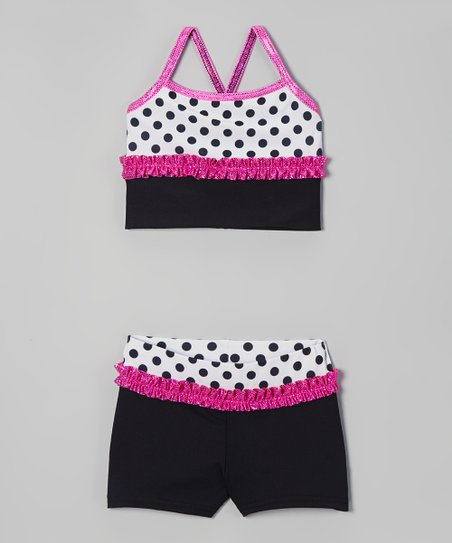 Black & Pink Polka Dot Sports Bra & Shorts - Girls