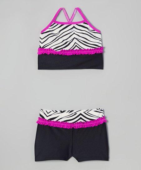 Pink & White Zebra Sports Bra & Black Shorts - Girls