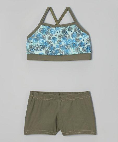 Blue Floral Sports Bra & Army Green Shorts - Girls