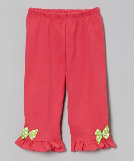 Fuchsia Polka Dot Owl & Bow Ruffle Pants - Infant & Toddler