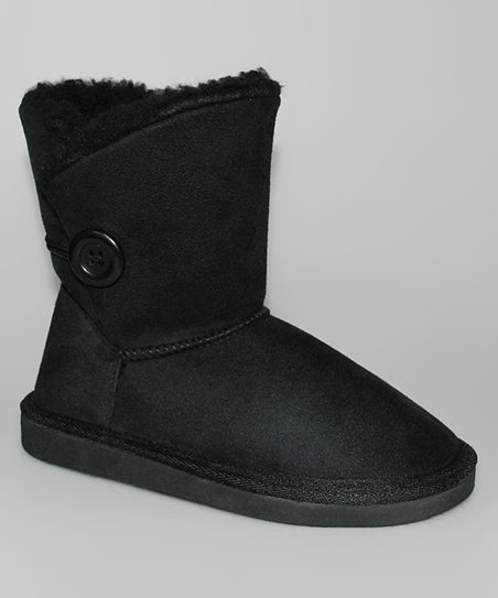 Black Button Boot - Women