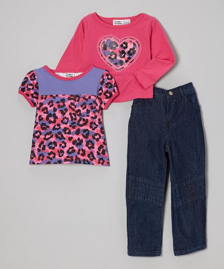 Fuchsia Leopard Heart Tee Set - Infant, Toddler & Girls