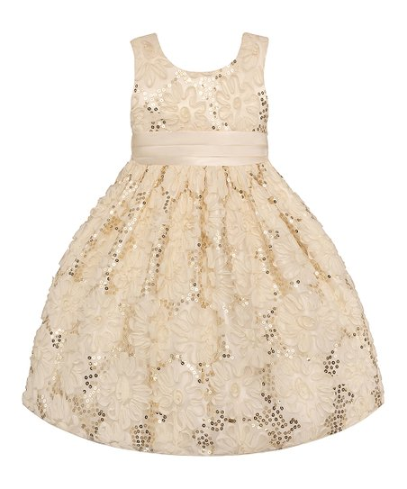 Candlelight Sequin Floral Dress - Toddler & Girls