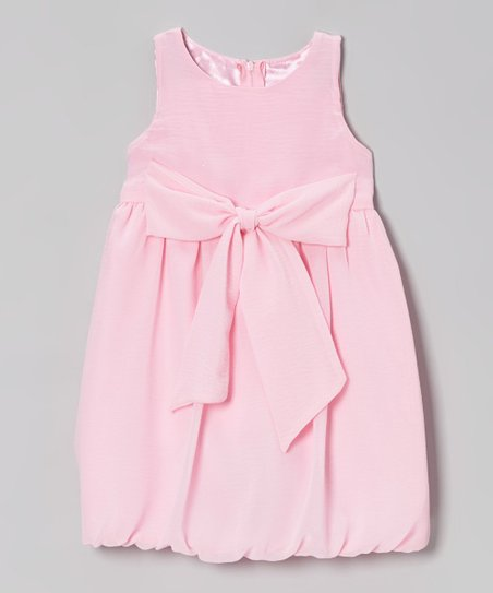 Light Pink Bow Rachel Bubble Dress - Toddler & Girls