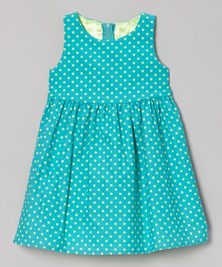Teal Polka Dot Eden Dress - Toddler & Girls