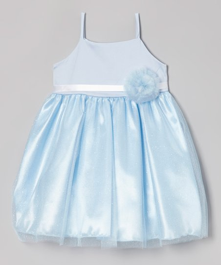 Light Blue Rosette Bianca Dress - Infant, Toddler & Girls