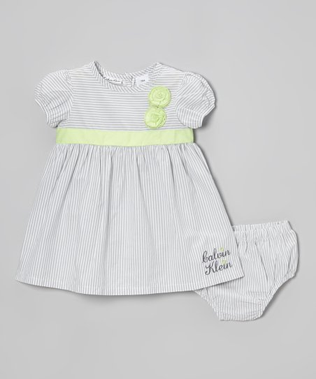 Gray & Green Stripe Rosette Dress & Diaper Cover