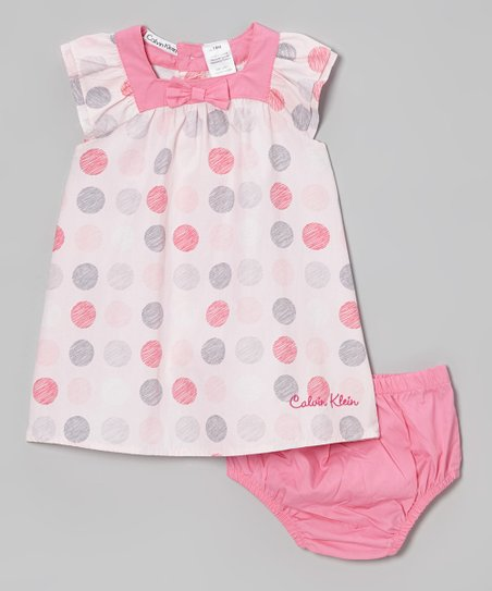 Pink Polka Dot Shift Dress & Diaper Cover