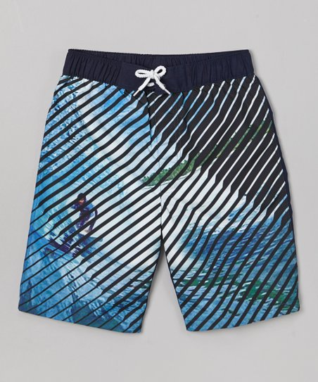 Blue Summer Surf Swim Trunks - Boys