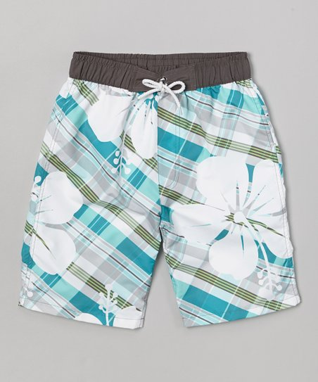Light Blue Hibiscus Plaid Swim Trunks - Boys