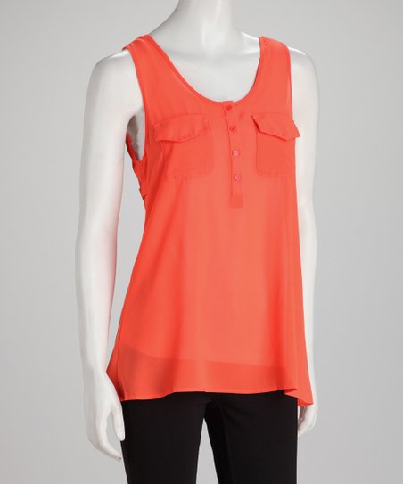 Tangerine Sheer Cutout Sleevless Henley