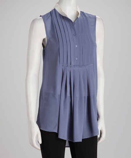 Indigo Sheer Pleated Sleeveless Top
