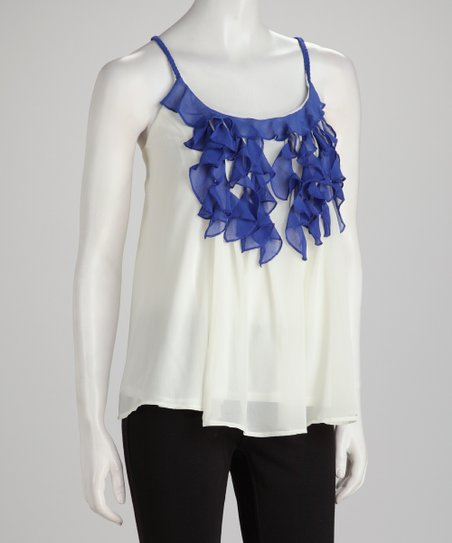 Off-White &amp; Royal Blue Swing Camisole