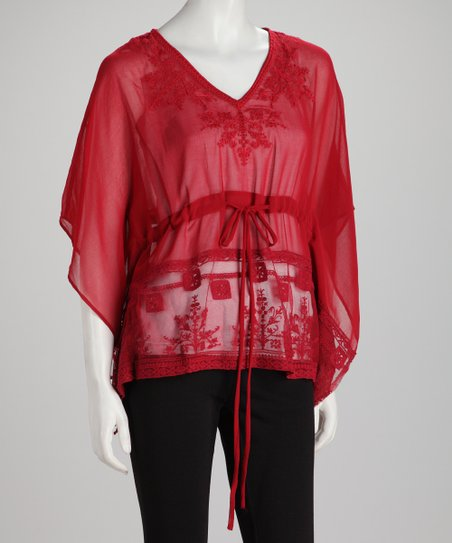 Red Sheer Tie-Waist Drape Sleeve Top
