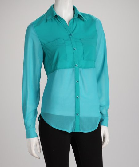 Aqua Sheer Contrast Hi-Low Button-Up