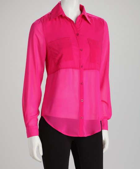 Fuchsia Sheer Contrast Hi-Low Button-Up