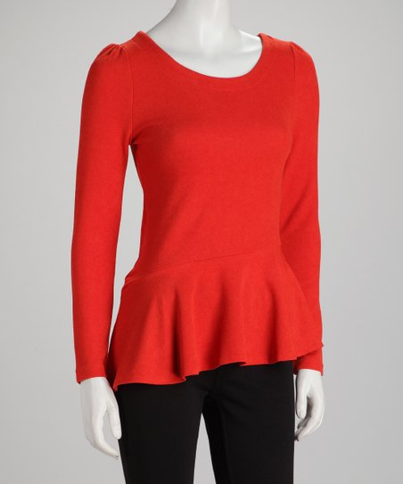 Rust Cutout Long-Sleeve Peplum Top