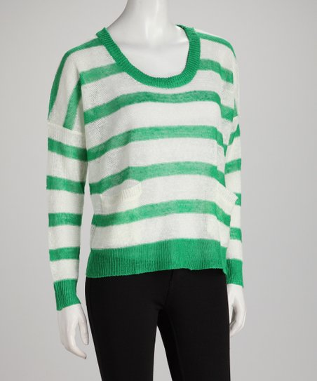 Green Stripe Crew-Neck Sweater
