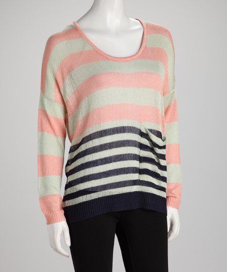 Blush & Navy Stripe Sheer Knit Sweater