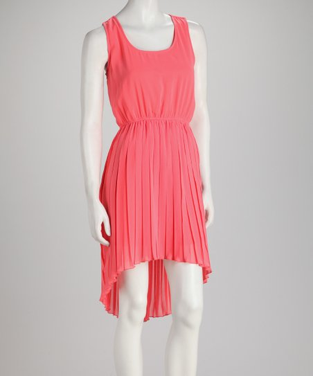 Coral Box-Pleat Hi-Low Sleeveless Dress