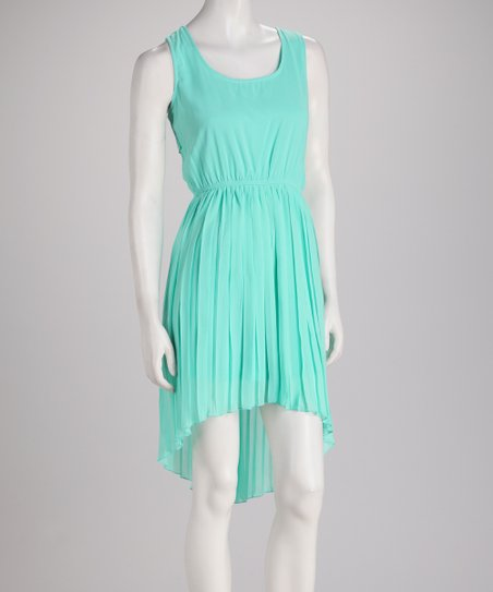 Mint Box-Pleat Hi-Low Sleeveless Dress