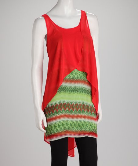 Coral Surplice Layered Sleeveless Tunic