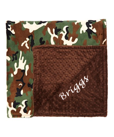 Brown & Green Camo Minky Personalized Receiving Blanket
